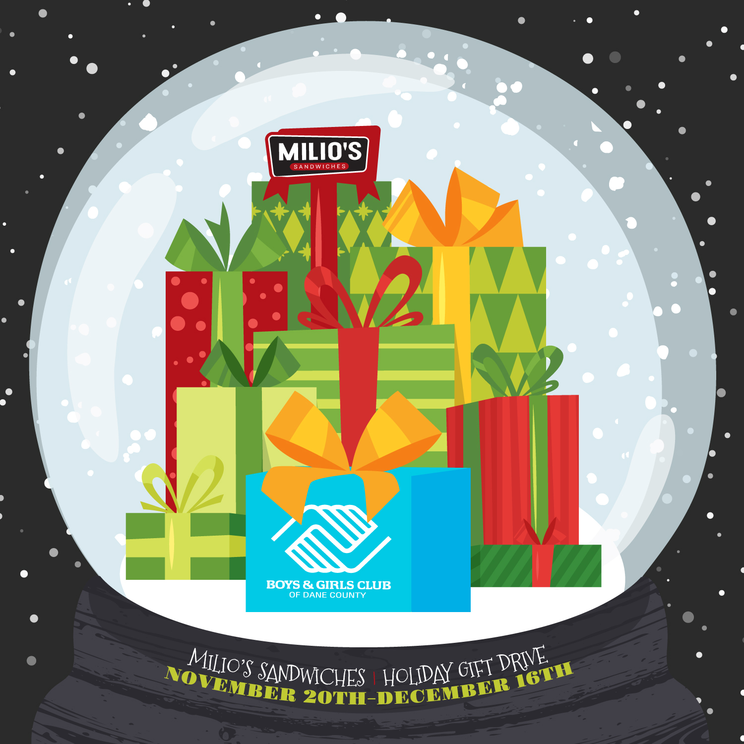 Milio's and Boys and Girls Club Holiday Gift Drive