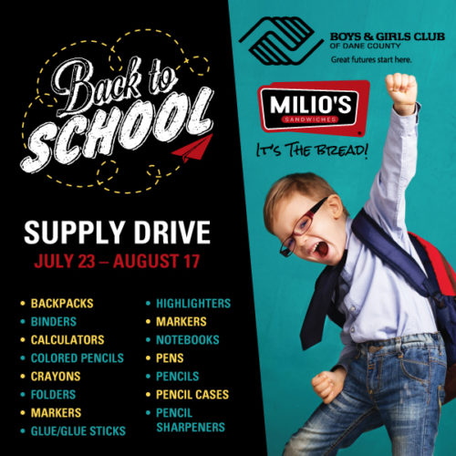 Milios Back to School Supply Drive