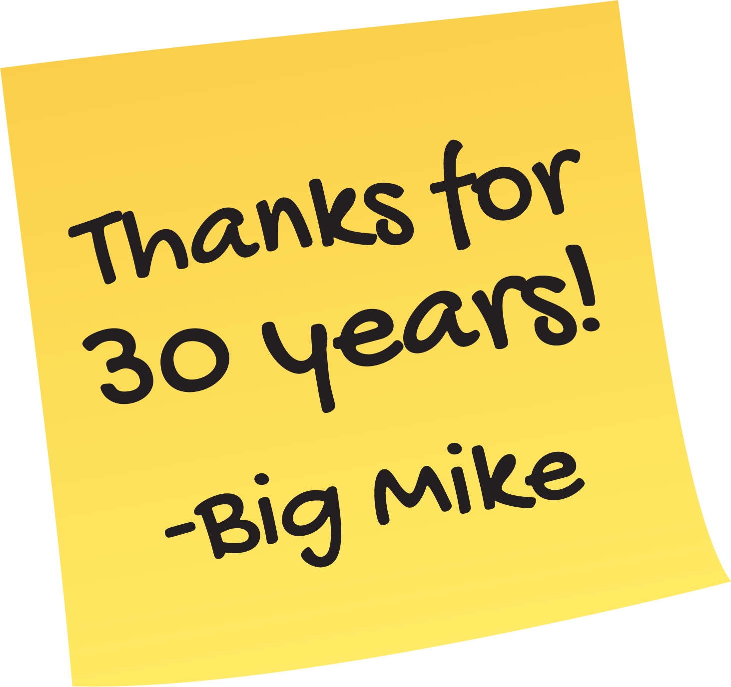 Milio's Post -It Thank you note